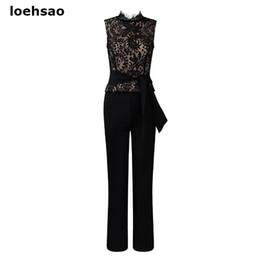 Cerimonia nuziale nera online-Elegante moda donna sottile tuta tuta bianco nero 2 pezzi Set da sera da sposa in pizzo tuta pagliaccetti pantaloni dritti