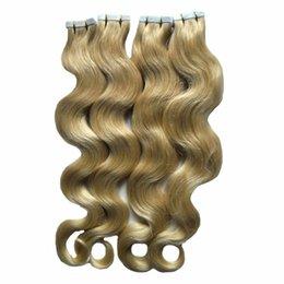 extensões de cabelo humano adesivo Desconto Fita Loura Em Extensões Do Cabelo Humano CORPO WAVE Remy Da Máquina Do Cabelo Em Adesivos Invisíveis Fita PU Trama Da Pele Extensões de Cabelo Remy 200G 80 PCS