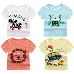 Wholesale Korean Style Shirt Baby - Children's wear bamboo cotton children's t - shirt cotton boys short sleeve Korean cartoon baby coat girls shirt summer 1 - 7t
