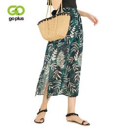e33e347c0 Falda a media pierna GOPLUS Falda a media pierna deja estampado Split Side  Mujer Ropa Faldas Falda a la moda bohemio de gasa Beach Fashion