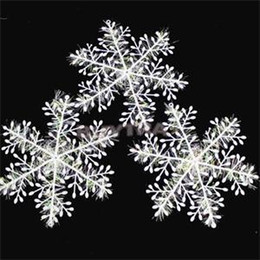 pack blanc neige Promotion Flocons de neige de Noël Flocon de neige blanc Ornements de vacances Fête de Noël Decortion Festival Party Decor 300PCS = 10 Packs