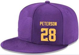Casquettes Snapback personnalisées n'importe quel nom de joueur Numéro 28 Peterson Vikings personnalisées TOUTES les casquettes d'équipe Accepter les logos et les noms personnalisés de broderies plates ? partir de fabricateur