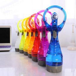 Wholesale Color Spray Bottles - New Children Spray Handle Fan Multi Color Outdoor Portable Handheld Cooling Mist Fans Bottle Summer Practical Toy 8 3mn YY