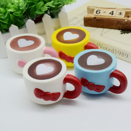 Wholesale Soft Toys Heart - Slow Rising Squishies High Quality Kawaii Cute Jumbo Heart Coffee Cup Soft Scented Squishy Stretch Kid Toy