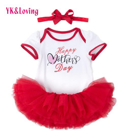 Wholesale Cute Winter Outfits For Girls - Baby Girl Tutu Clothing 3pcs Sets Letter Cotton Short Sleeve Romper Jumpsuit Kids Children Outfits for Mother's day Party Dress Suit Gift