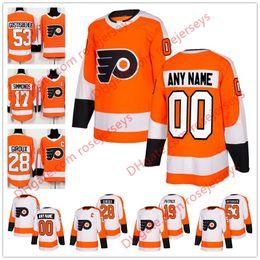Wholesale Philadelphia Home Jersey - NEW Brand Custom Philadelphia Flyers Hockey Jersey Stitched Any Number Name Customized 2018 Orange Home White Patrick Giroux 88 Lindros S-60