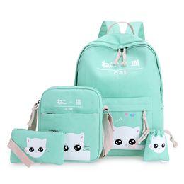 Wholesale Japan School Bags - green cat backpacks for teenager school bag for girls set 4 green teenagers backpack mint Japan Korean back pack nbxq128