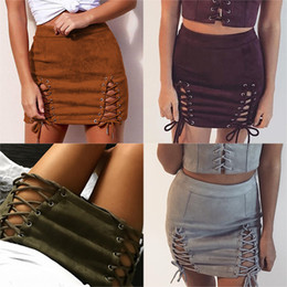 Wholesale Cross Lines - 2018 Sexy Lace Up Leather Suede Skirts Women Vintage Cross Zipper Split Mini Skirt Sexy High Waist Bodycon Short Pencil Skirt