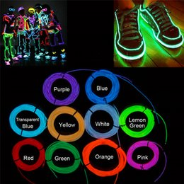 Wholesale Flexible Cable Wire - 10 Colors 3M 3V Flexible Neon Light Glow EL Wire Rope Tape Cable Strip LED Neon Lights Shoes Clothing Car Decorative Ribbon Lamp
