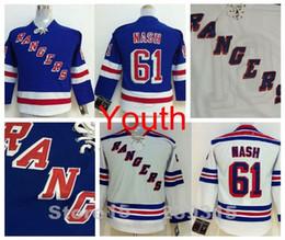 Wholesale Boys New York - Factory Outlet, Boys New York Rangers Jersey #61 Rick Nash Jersey Jerseys Youth Blue White Cheap Authentic Kids Rick Nash Hockey Jersey Stit