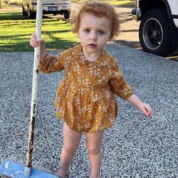 rompers long sleeve dell'annata Sconti 2019 Ins Primavera Vintage Infant bambina vestiti Pagliaccetti Manica lunga Sweet Florals short Tuta 100% cotone Hotsale