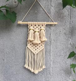 Arte de la pared de Macrame hecho a mano tapiz colgante de pared de algodón con telas de encaje Bohemia tejido de cuerda hecho a mano de cuerda de algodón natural y tapicería desde fabricantes