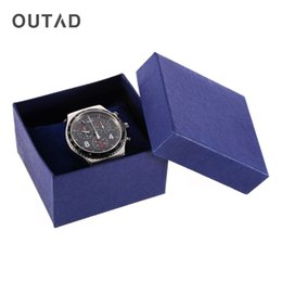 Wholesale Paper Presents - OUTAD 1pc Watch Bracelet Display Box Case Jewelry casket holder storage Present Gift paper Packaging Boxes For With Foam Pad