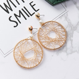 Wholesale Nightclub Accessories - New Fashion Earrings Exaggerated mesh hollow big circle nightclub long Stud Earrings For Women Charm Statement Jewelry Party Gifts Accessory