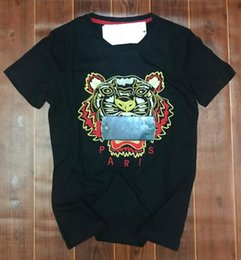 Wholesale Ivory Head - brand Embroidered Tiger Head tees t-shirts pure Combed cotton high quality jerseys man woman polo shirts O-neck Pullover short sleeve shirts