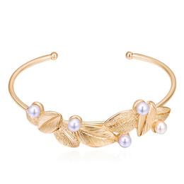 Wholesale Food Gold Leaf - Elegant Imitation Pearl Crystal Leaf Charm Bracelets For Women Gold Color Bridal Wedding Jewelry New Fashion Jewelry