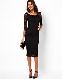 Vestito da partito sexy del merletto nero / porpora di modo Vestito mezzo vestito da estate del vestito da bodycon dalle donne eleganti di autunno del manicotto mezzo vestito da sera di cocktail da