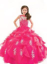 Canada Enfants Junior Beauté Pageant Robes Pour Enfants Toddler Strass Fleur Filles Robe Puffy 2019 Pageant Robes Offre