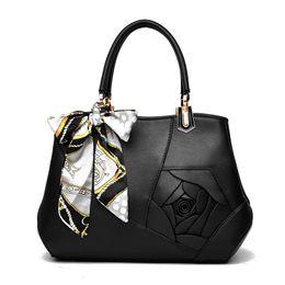 2020 sacchetto di spalla del fiore nero borsa a spalla totes fiore femminile Rose Stampa borsa a mano per donna borse a tracolla con busta borsa a tracolla Grigio Rosa Nero sacchetto di spalla del fiore nero economici