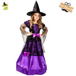 2019 robe de sorcière mauve 2018 costume de sorcière mystique enfants Purple Noble robe de sorcière avec chapeau pour Halloween Party Déguisements Costumes robe de sorcière mauve pas cher