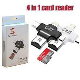 Lector usb de android online-4 en 1 Tipo-c / iPhone / Micro USB / USB 2.0 Lector de tarjetas de memoria Micro SD Lector de tarjetas para Android / iphone x Samsung s9