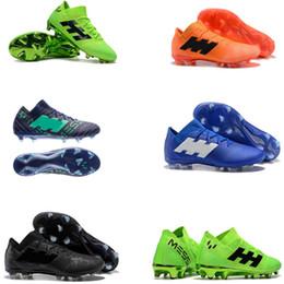 Messi botas negras baratos online-2018 zapatillas de fútbol baratas X 17.1 cuero FG zapatos de fútbol Nemeziz Messi 18.1 FG mens Crampones de fútbol botas zapatos al aire libre negro tamaño 39-46