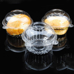 Wholesale wholesale disposable cake containers - 100pcs 8 *10 .5 *4cm Individual with Hat Plastic Disposable Cake Container Cupcakes Packaging Box