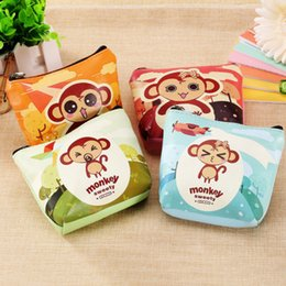 Wholesale Hip Funding - Monkey Small Change bags Woman Mini- Korea Zipper Pu Skin Short Fund Lovely Cartoon Key bags