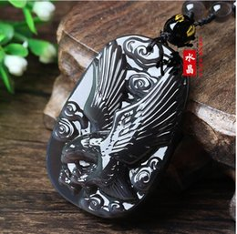 2019 eis obsidian anhänger natürliche Eis Farbe Obsidian Weißer Kristall Obsidian Adler Flügel Anhänger Halskette rabatt eis obsidian anhänger