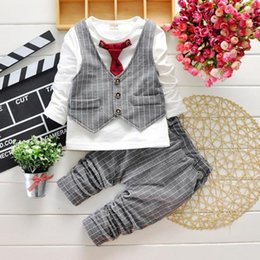 Wholesale Toddlers Wedding Suits - Boys Gentleman Suit for Wedding and Party New Fashion Toddler Childrens Clothing Set Long Sleeve 1 2 3 4 Year Kids Clothes