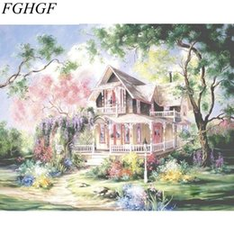 Wholesale villa paintings - FGHGF Fairyland Villa Landscape DIY Painting By Numbers Kit Handpainted Oil Painting Modern Wall Art Canvas 40x50cm Artwork