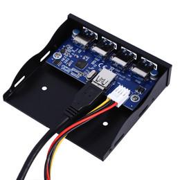 Adaptador usb adaptador de corriente online-Adaptador de conector SATA Power Connector para expansión de hub del panel frontal de la bahía de disquete USB 3.0 de 4 puertos