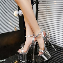 Wholesale 18cm High Heels Shoes - JOYHOPY Super Sexy High Heels Nightclub Sandals With Thin Woman Transparent Crystal Wedding Shoes Women's Pumps Silver 14cm 18cm