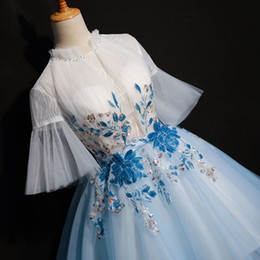alice tutu Coupons - free ship short light blue flower embroidery flare sleeve tutu lolita alice cosplay short ball gown medieval dress