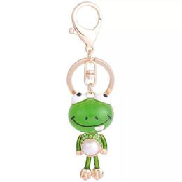 Rana della catena chiave online-Nuovo simpatico animale portachiavi Cartoon creativo Frog auto chiave pulsante donne borsa pendente Bella decorato portachiavi catena chiave di fascino