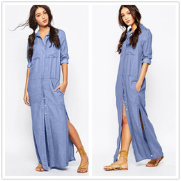 Abito lungo vintage a camicia di jeans Donna con risvolto alto Jeans dritti  divisi Vestito maxi Bottone frontale monopetto Casual Taglia jeans vintage  ... 94f6cc0811e