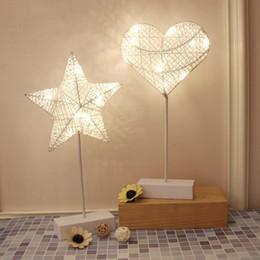 Coração em forma de luzes da noite on-line-Coração Forma de Estrela LED Night Lights Meninas Quarto Quarto Do Bebê Decoração Do Berçário Lâmpada de Mesa Lâmpadas, Presentes de Natal de Aniversário