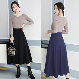 Wholesale maxi red wines - TingYiLi High Waist Maxi Skirt Black Wine Red Navy Winter Women Skirt Long Elegant A-Line Big Swing