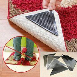 Wholesale wholesale carpet pad - Ruggies Rug Carpet Mat Grippers Non Slip Grip Corners Pad Anti Skid Reusable Washable Silicone Tidy 4pcs Set OOA5134