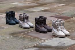 Wholesale Platform Ankle Boots Brown - 2018 Handmade Winter Crepe Bottom Men Platform Nubuck Chelsea Boot Casual Season Fashion Platform Motorcycle Kanye West boost 950 army Boots