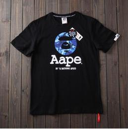 2019 modelo de adolescentes 2018 Camuflagem de Verão T-Shirts Para Adolescente AAPE designer t shirt macaco Carta impressão casal modelos top Tshirt Casual Mulheres Tee T-shirt modelo de adolescentes barato