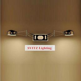 Moderno braccio oscillante online-SVITZ 2 arms modern wall lamps Lampada da parete a led a parete Sconce trendy 2 luci Lampada da comodino cromata Lampada da lettura a luce