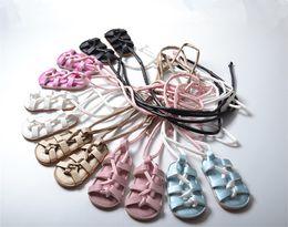 Wholesale wholesale gladiator heels - Baby Girls Sandals Toddler Lace-up Flat Heels Sandals PU Leather Kids Gladiator Shoes Summer Hot Sale B11