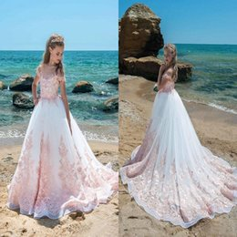 Wholesale teen dresses for weddings - 2018 Cute Pink Ivory Flower Girls Dresses Sheer Neck Cap Sleeves Appliques Lace Tulle Wedding Girls Pageant Dresses Party Dresses For Teens