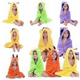 Wholesale cute summer pajamas - 5 Color Kids Baby Bathrobe Cotton Baby Cute Shawl Colorful Hooded Animal Pajamas Child Towel EEA189 50pcs