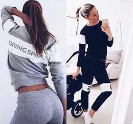women gym clothes winter Promo Codes - Hot Autumn Winter Fashion Women Sweater Tracksuits Jogger Sport Tracksuit Sweatshirt Hoodies Sports Running Yoga Gym Clothing FS5937
