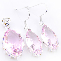 wholesale pink topaz jewelry Promo Codes - Jewelry Sets Wholesale Holiday Jewelry Horse eye Pink Topaz Crystal Gems 925 Sterling Silver Pendants Drop Earrings Jewelry Sets