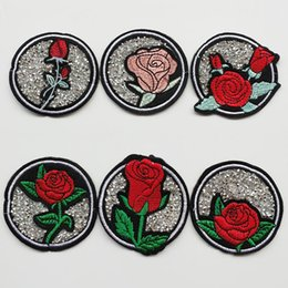 Wholesale Sew Rhinestones Patches - 60pcs Rhinestone Mixed Rose Sew-on & Iron-on Patches Embroidery Patch Badge Sewing Accessoires Appliques Craft 6.5cm