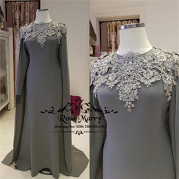 Wholesale vintage grey mother dress - Plus Size Grey Mermaid Mother of the Bride Groom Dresses 2018 Long Sleeves Wrap Vintage Lace Cheap Formal Evening Prom Party Gowns
