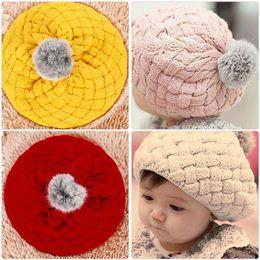 photo prop hat rabbit 2018 - Winter Warm Baby Hat Soft Crochet Knitted Beanie Caps Cute Rabbit Faux Fur Gorros Infant Toddler Beret Hats Ball Cap Photo Props